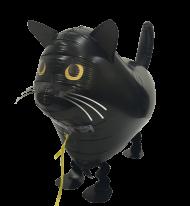 Folienballon Walker Katze schwarz, ca. 60 cm