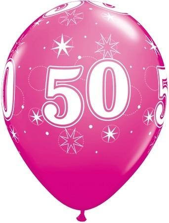 5 Zahlenballons 50 Qualatex, pink, ca. 30 cm