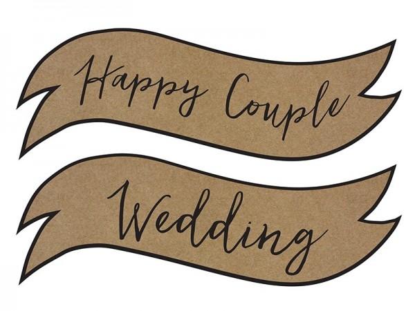 Schilder Happy Couple - Wedding, ca. 55x19 cm, 2 St.