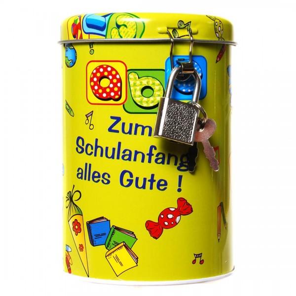 Spardose Zum Schulanfang alles Gute, Metall, ca. 11x8,5 cm