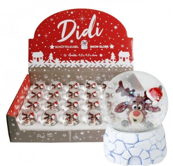 Schneekugel Didi Rentier Weihnachten, ca. 4,5 x 6 cm, 1 Kugel