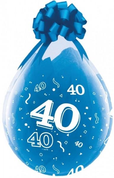 Zahl 40 Verpackungsballon, transparent, Qualatex, ca. 45 cm