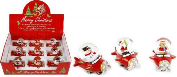 Schneekugel Weihnachten Flugzeug, sortierte Motive, ca. 9x7,5x6 cm, 1 Kugel