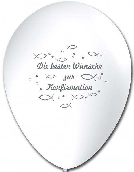10 Ballons Die besten Wünsche zur Konfirmation, Weiß, ca. 30 cm