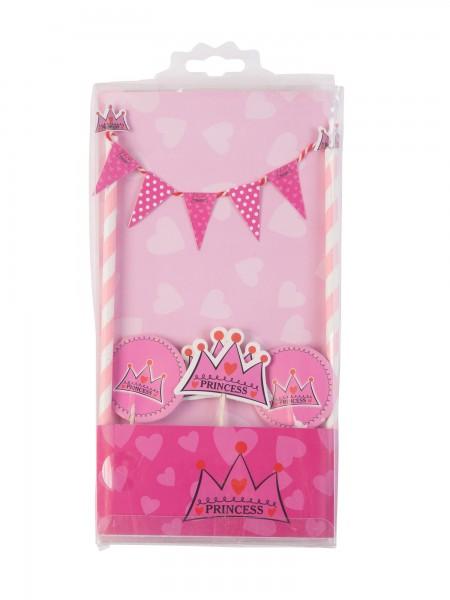 Cake Topper Tortendeko Princess, rosa pink, 5 Teile