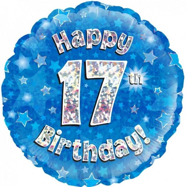 Folienballon Happy 17th Birthday BLAU, ca. 45 cm