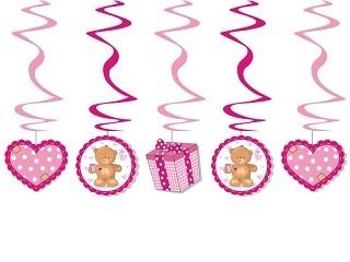 Swirl-Deko Teddy/Herzen, rosa, 5 St.