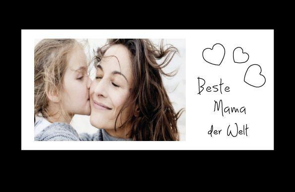 Bilderrahmen Beste Mama der Welt, ca. 25 x 12 cm, Holz WEIß