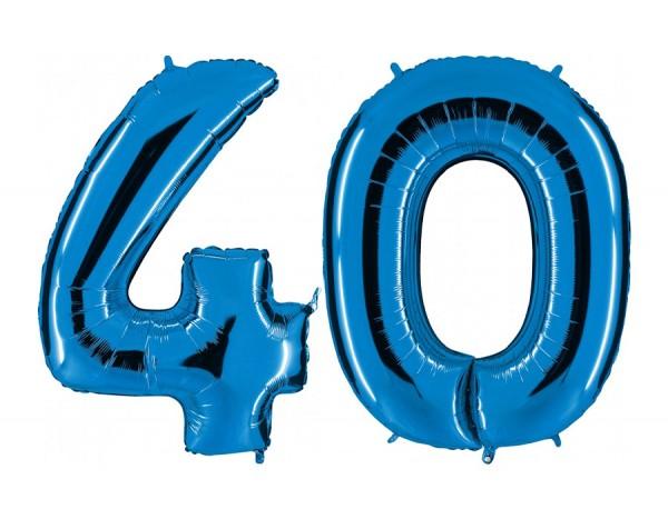 Folienballon Set Zahl 40, ca. 100 cm, blau