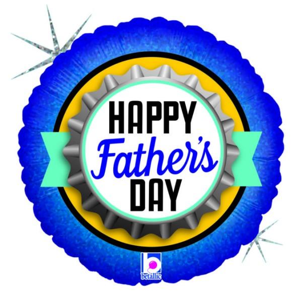 Ballongruß: Happy Father`s Day Kronkorken, ca. 45 cm