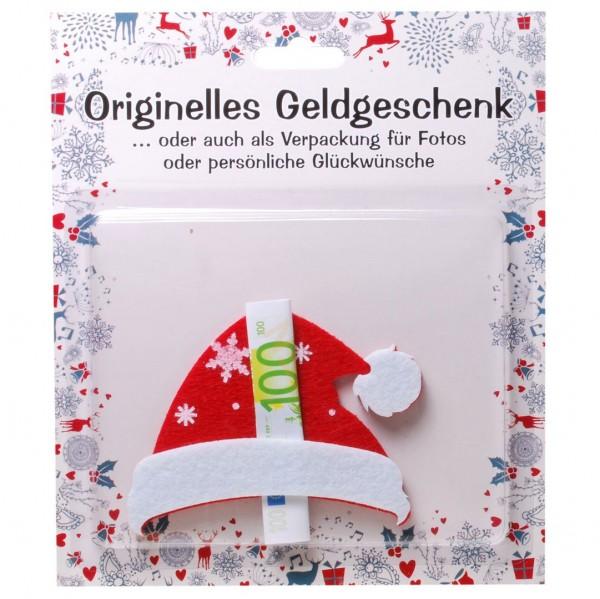 Weihnachtsmannmütze Filz für z.B. Geldgeschenk, ca. 8 x 10 cm