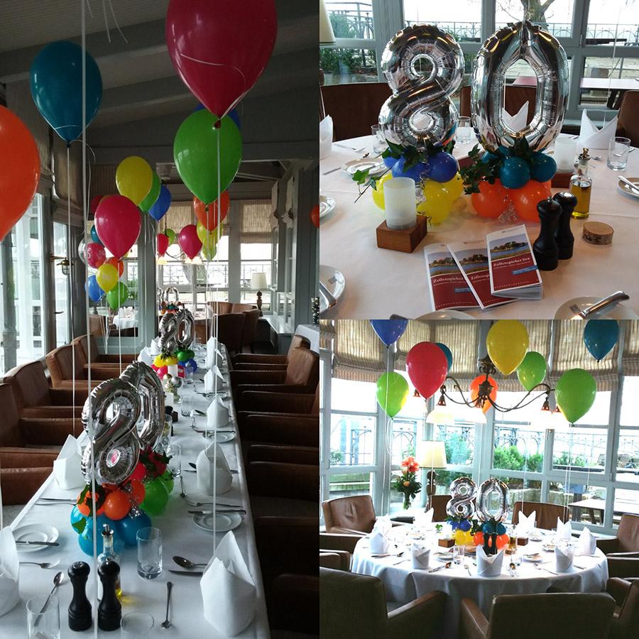 80. Geburtstag einfache effektvolle Dekoration mit Zahlenballons