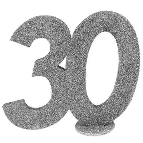 Dekozahl 30 silber, ca. 10x9 cm, stehend, 1 St.