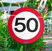 Schild mit Stecker 50 Verkehrsschild, ca. 53 cm