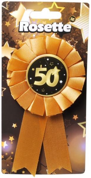 Rosette 50 schwarz/gold, ca. 14x8 cm