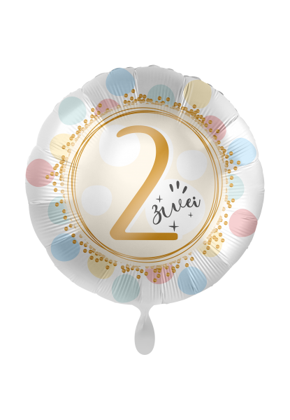 Folienballon 2 zwei, ca. 45 cm