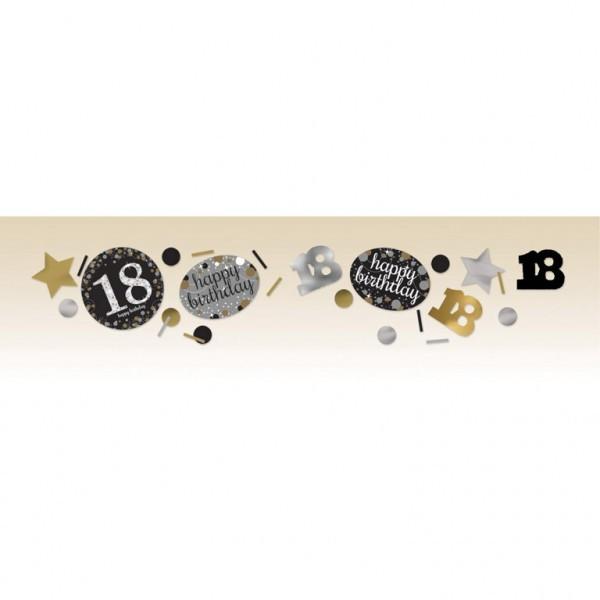 Konfetti Streudeko 18 gold/schwarz/weiß/silber Mix, 3-fach, ca. 34 gr.