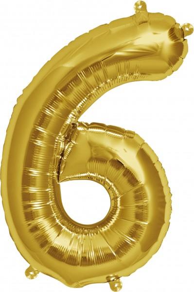 Folienballon Zahl 6, ca. 35 cm, GOLD, für Luftbefüllung