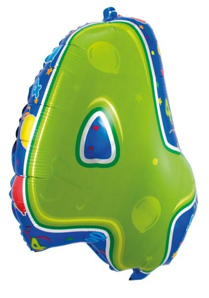Folienballon 4 bunt, ca. 56 cm