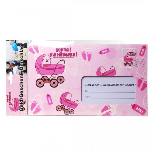 1 Riesen-Umschlag Hurra! Ein Mädchen, ca. 18 x 30 cm, Pappe, für z.B. Geldgeschenke oder Gutscheine.