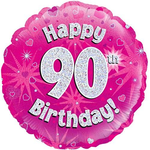Folienballon Happy 90th Birthday pink/silber ca. 45 cm