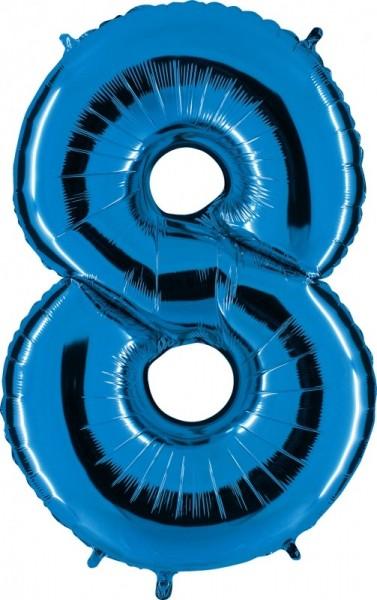 Folienballon Zahl 8, ca. 100 cm, blau