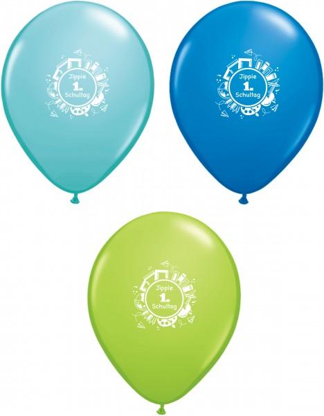 6 Luftballons Jippie 1. Schultag, türkis hellgrün blau, Qualatex ca. 30 cm