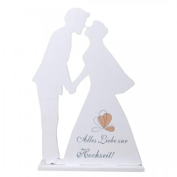Deko Brautpaar Silhouette Alles Liebe zur Hochzeit, Holz, ca. 21x14 cm