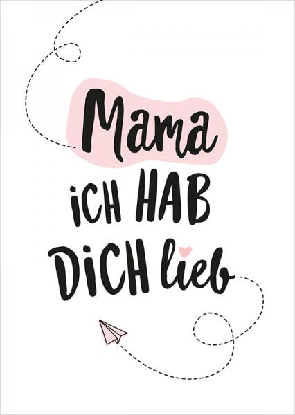 Postkarte Mama ich hab Dich lieb, ca. 15x10 cm