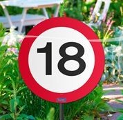 Schild mit Stecker 18 Verkehrsschild, ca. 53 cm