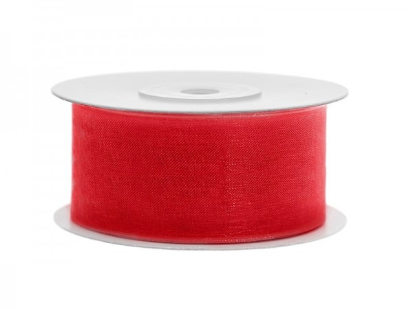 Organzaband rot, 3,8 cm, 25 Meter-Rolle