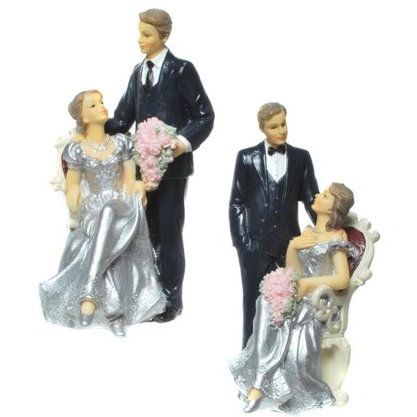 Silber-Brautpaar, sitzend/stehend, ca. 16 cm