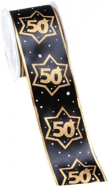 Geschenkband 50 schwarz/gold, 4 cm x 3 Meter