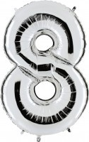 Folienballon Zahl 8, ca. 41 cm, silber, für Luftbefüllung