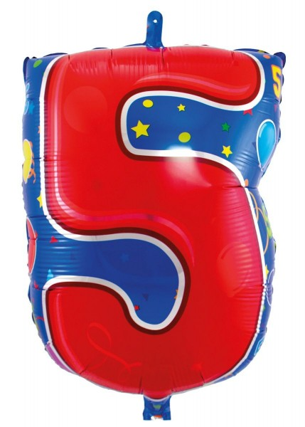 Folienballon 5 bunt, ca. 56 cm