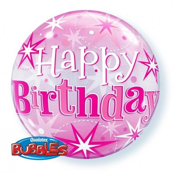 Bubble Happy Birthday PINK, ca. 56 cm