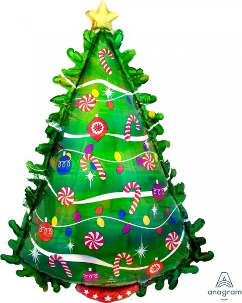 Ballongruß: Tannenbaum, grün bunt, ca. 85 cm
