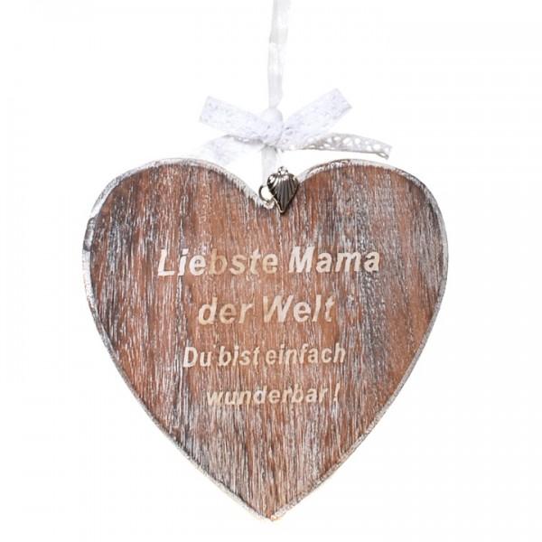 Holzherz Liebste Mama, ca. 16,5 cm