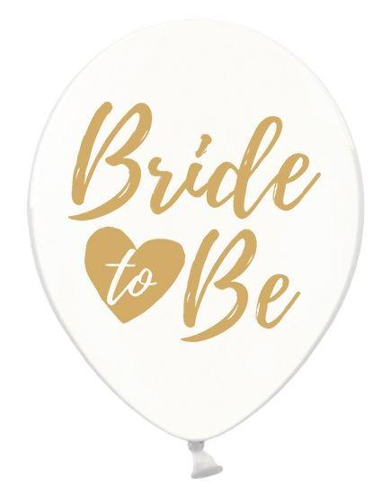 6 Ballons Bride to be, transparent gold, ca. 30 cm