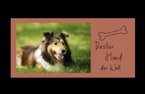Bilderrahmen Bester Hund der Welt, ca. 25 x 12 cm, Holz BRAUN