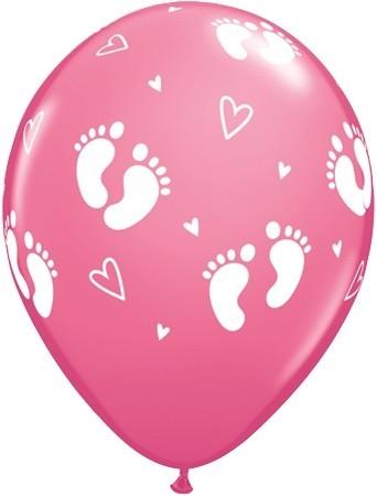 5 Ballons mit Füßchen Aufdruck in rosa von Qualatex, ca. 30 cm Durchmesser