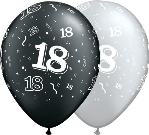 5 Zahlenballons 18 Qualatex, silber/schwarz, ca. 30 cm