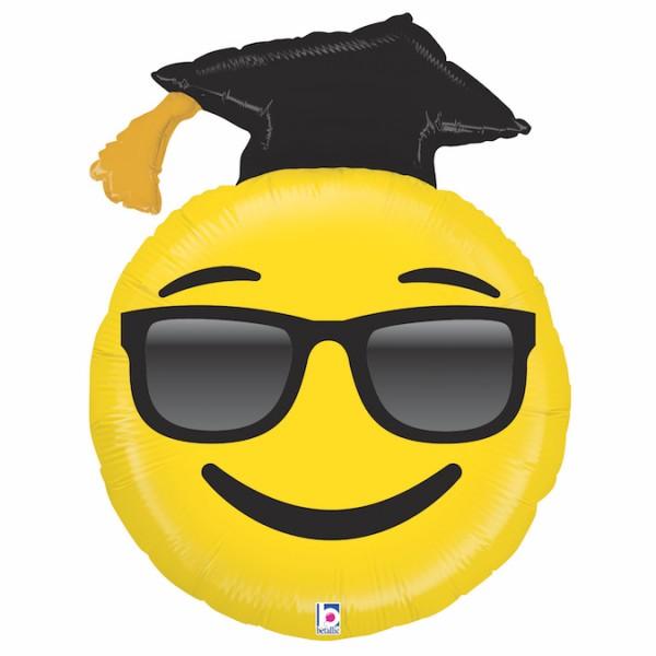 Ballongruß: Happy Face Graduation, ca. 90 cm