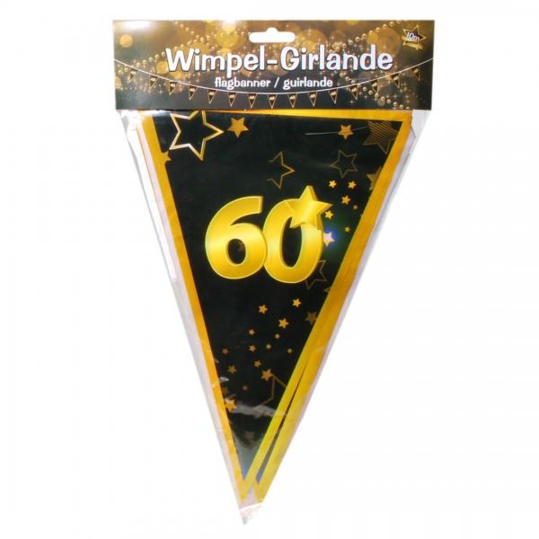 Wimpelkette 60, schwarz/gold, 10 Meter