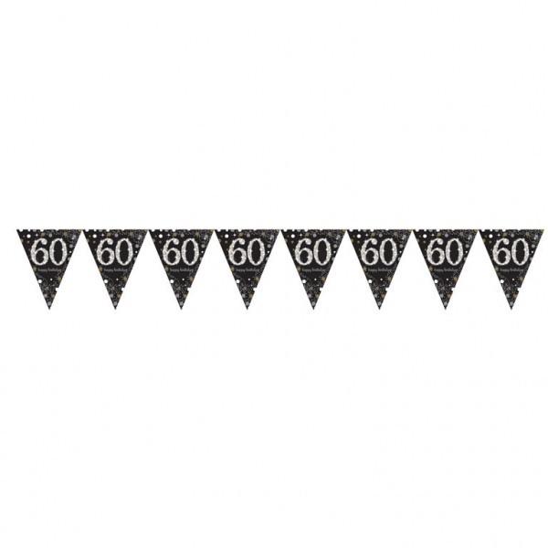 Wimpelkette 60, schwarz/weiß/silber/gold, 4 Meter