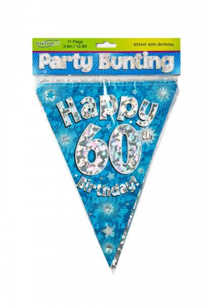 Wimpelkette Happy 60th Birthday blau/silber ca. 3,9 Meter