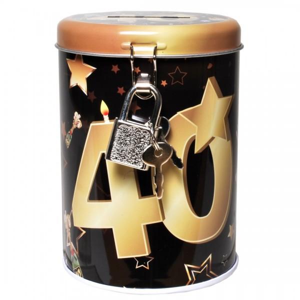 Spardose 40 schwarz/gold, Metall, ca. 11x8,5 cm