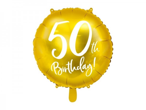 Folienballon 50th Birthday gold/weiß, ca. 45 cm