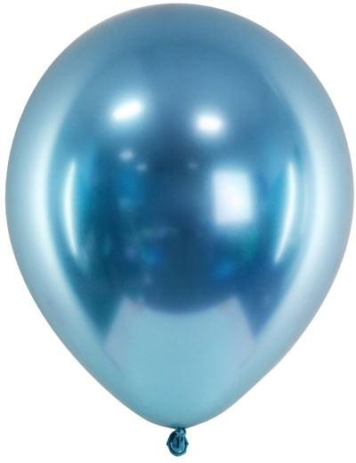Chrome Glossy Ballons - blau - ca. 27/30 cm