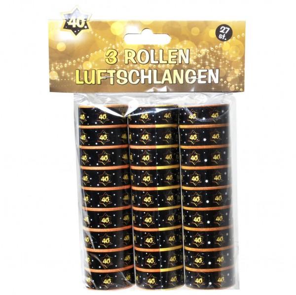 Luftschlangen 40 schwarz/gold, 3 Rollen
